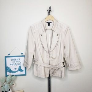WHBM Taupe 3/4 Belted Half Zip Jacket